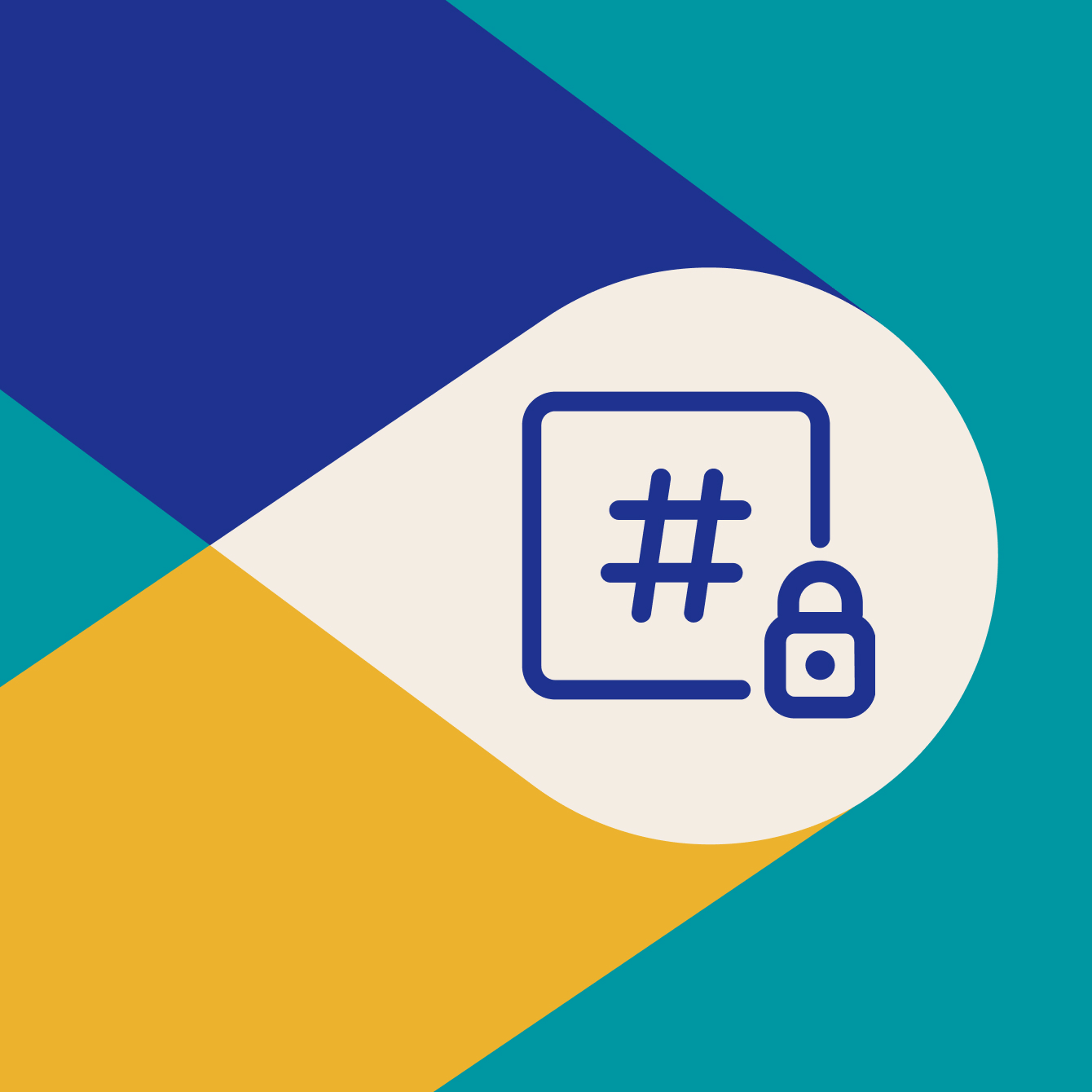 Shared channels and security icon, hashtag with lock