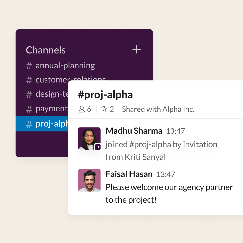 UI screenshot showing an agency partner being added to a shared project channel