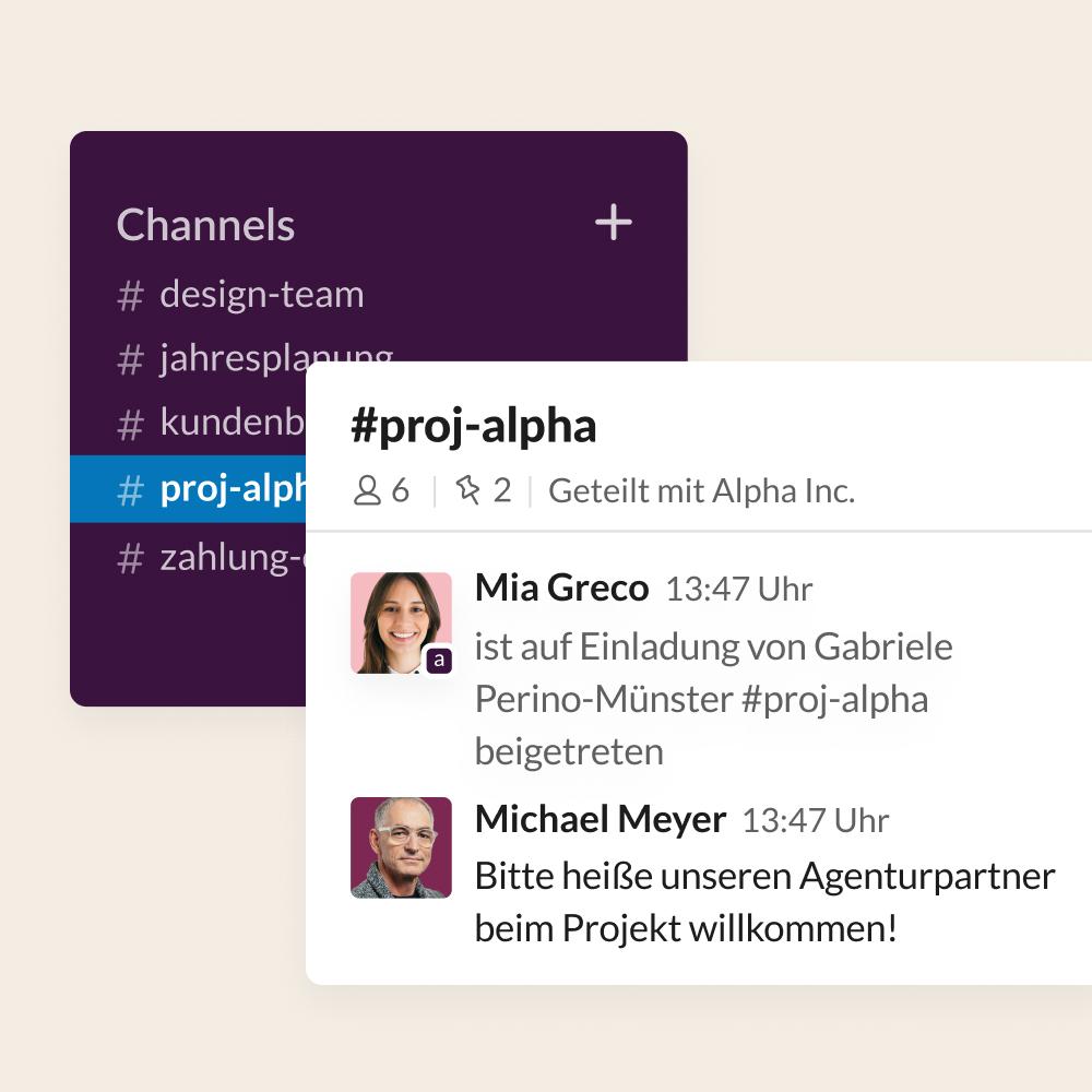 UI-Screenshot von einem Agenturpartner, der zu einem Geteilten Channel für ein Projekt hinzugefügt wird