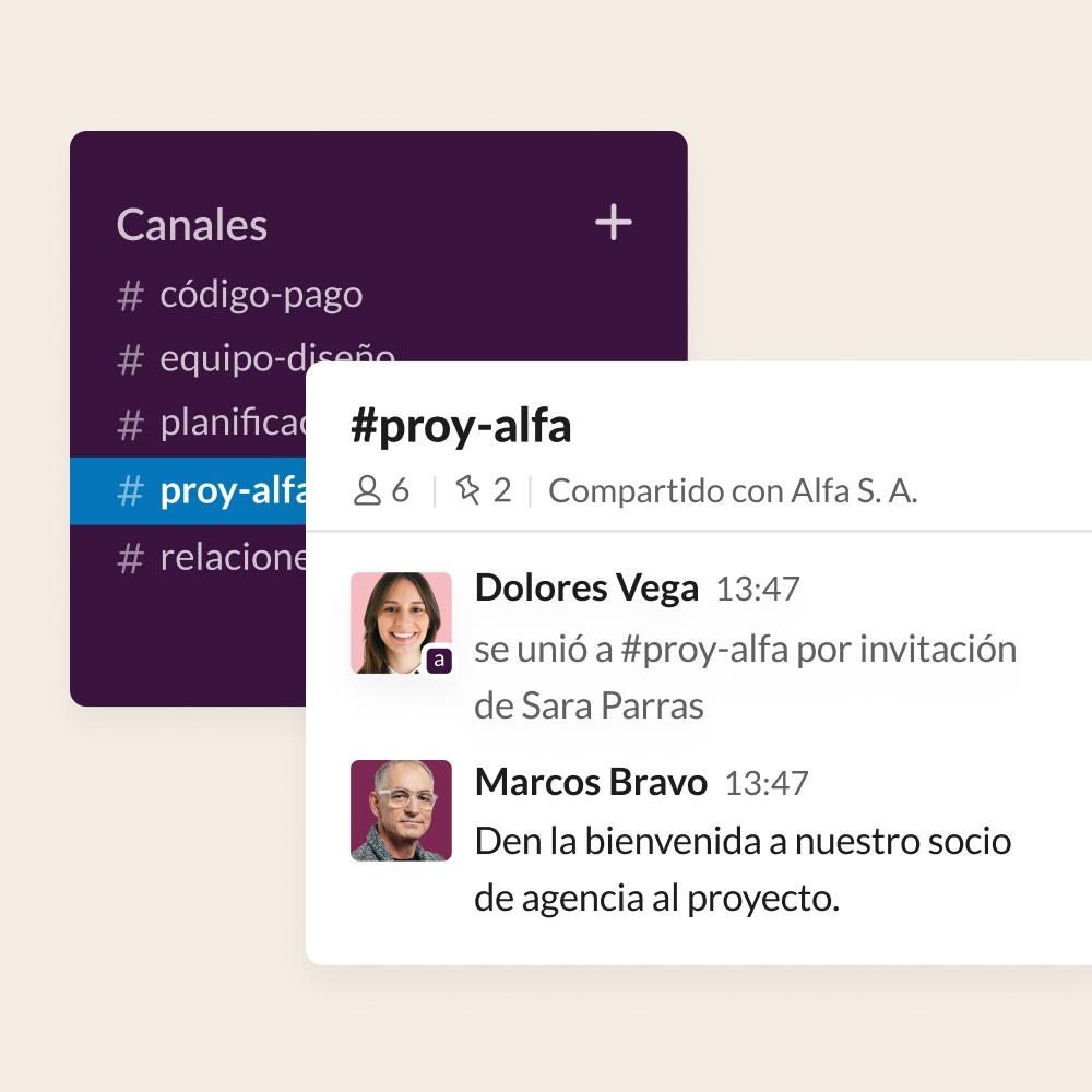 Captura de pantalla de la interfaz de usuario en la que aparece una agencia añadida a un canal de proyecto compartido