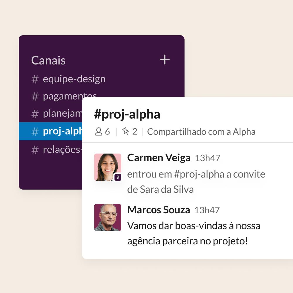 Captura de tela da interface de usuário exibindo uma agência parceira sendo adicionada a um canal de projeto compartilhado