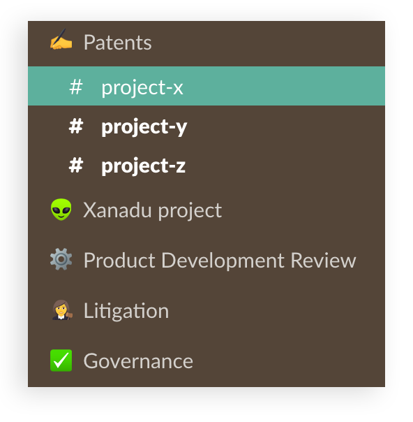 Screenshot of legal channels and projects within a series of sections