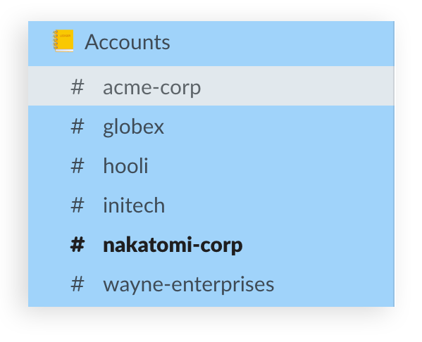screenshot of a list of sales account channels in a section