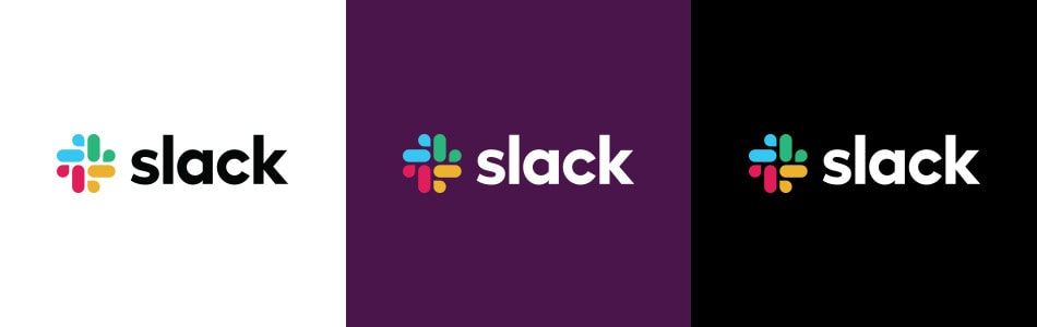 New Slack logo on different colored backgrounds