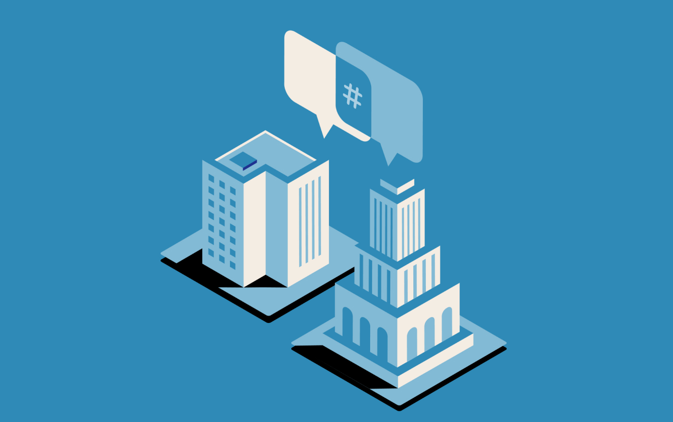 Two buildings with chat communication icon hovering between