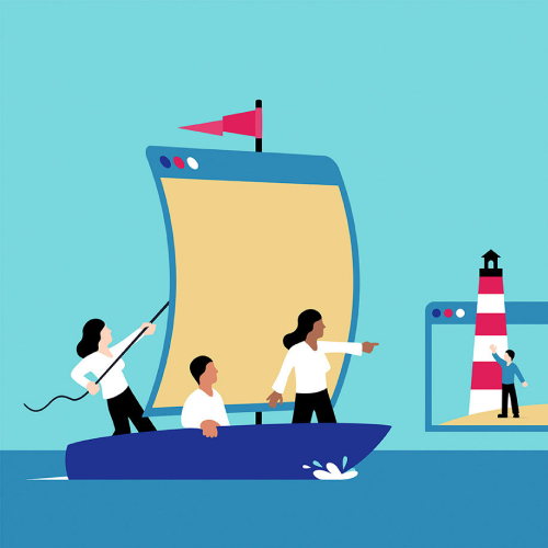 Illustration of workers on boat waving to customers on shore representing Modsquad's customer service