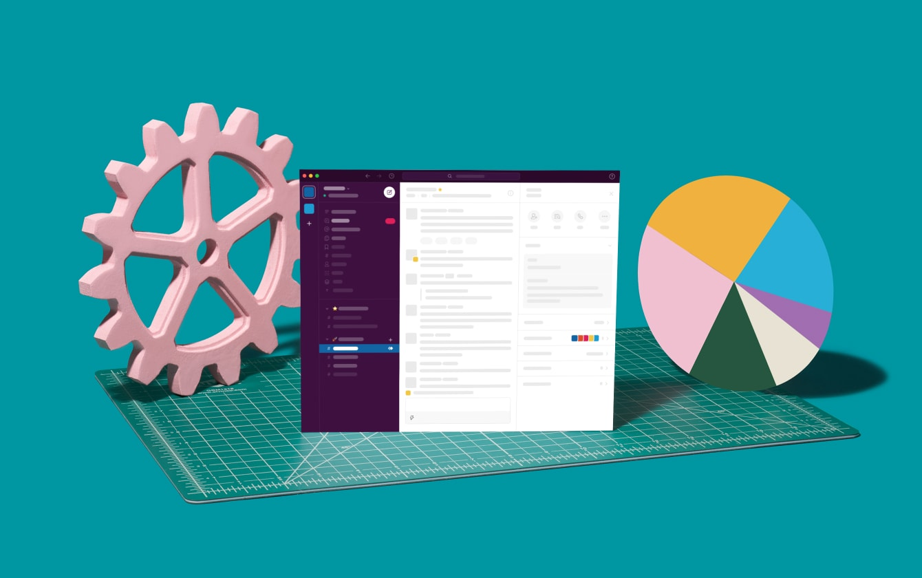 Slack screen with pie chart and tools representing business