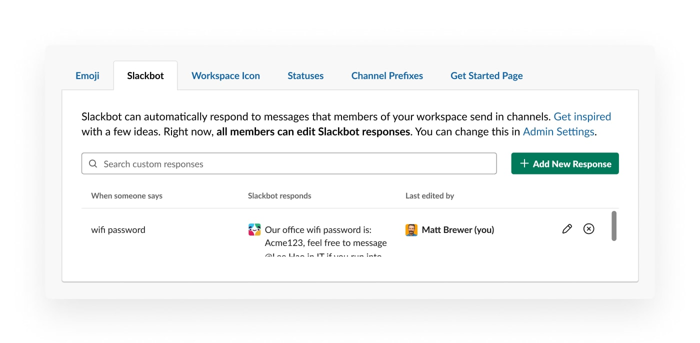 Setting up a custom slackbot response when someone asks for the wifi in channel