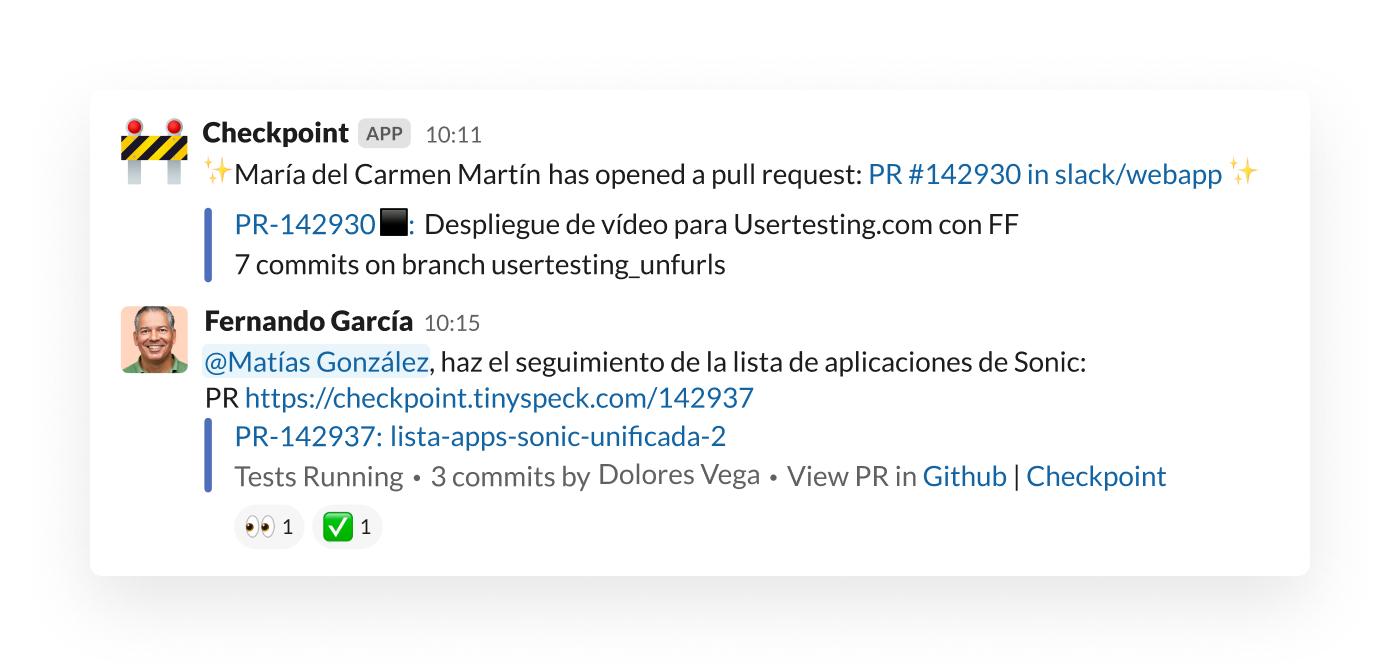 Una alerta de solicitud pull en Slack