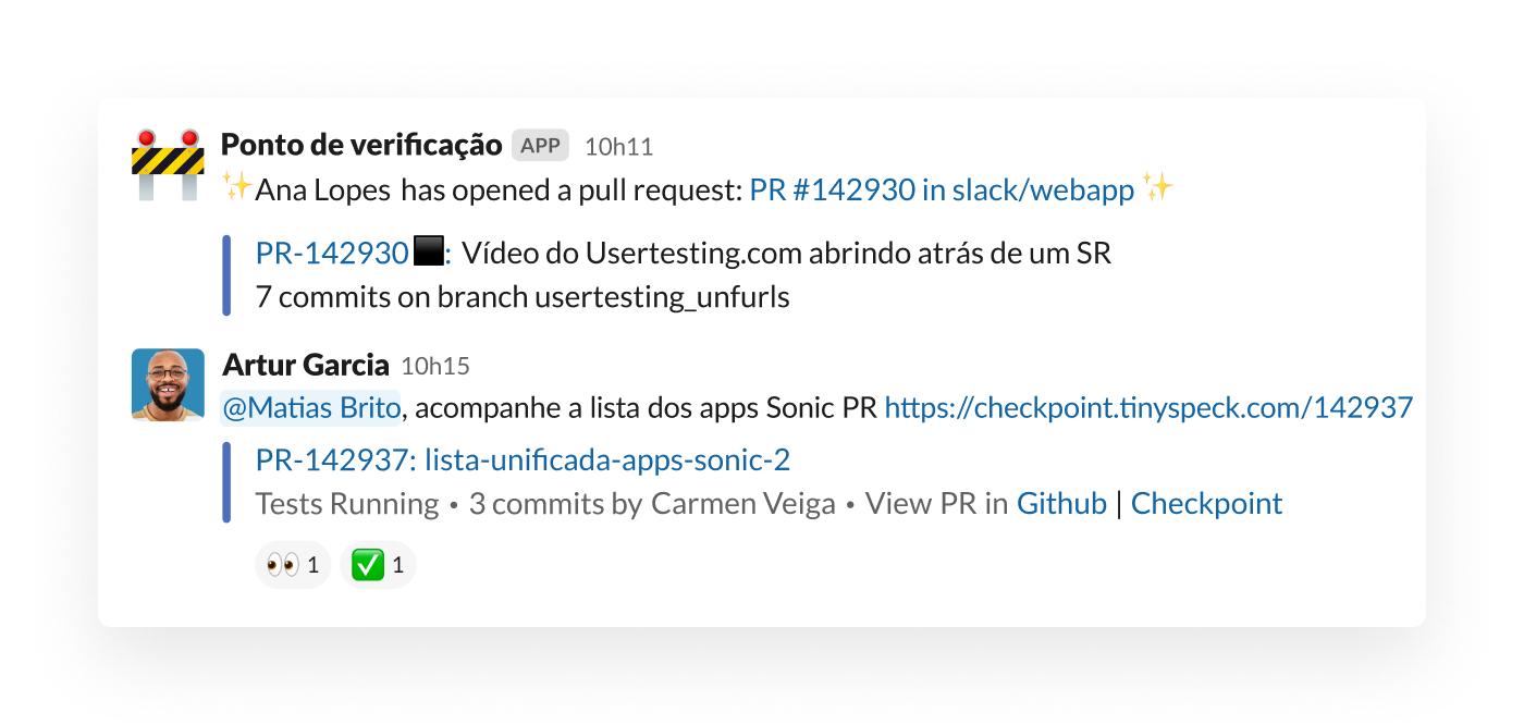 Um alerta de solicitação de pull no Slack