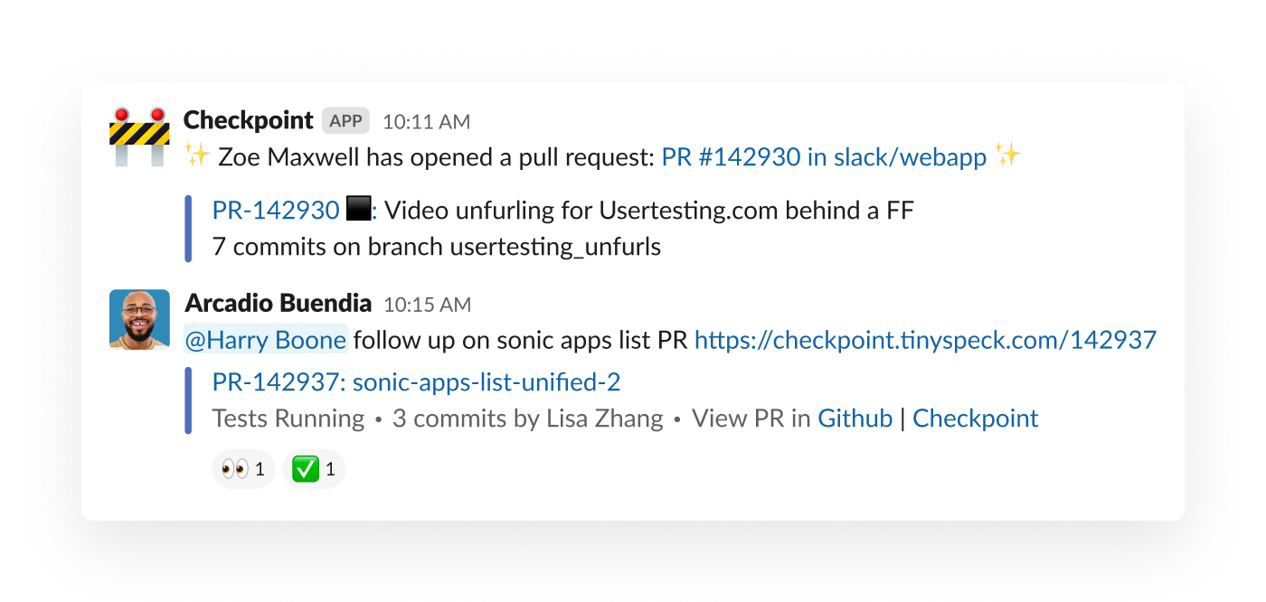 A pull request alert in Slack