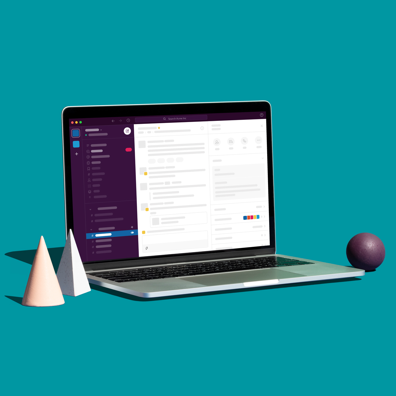 A laptop showing the Slack desktop app