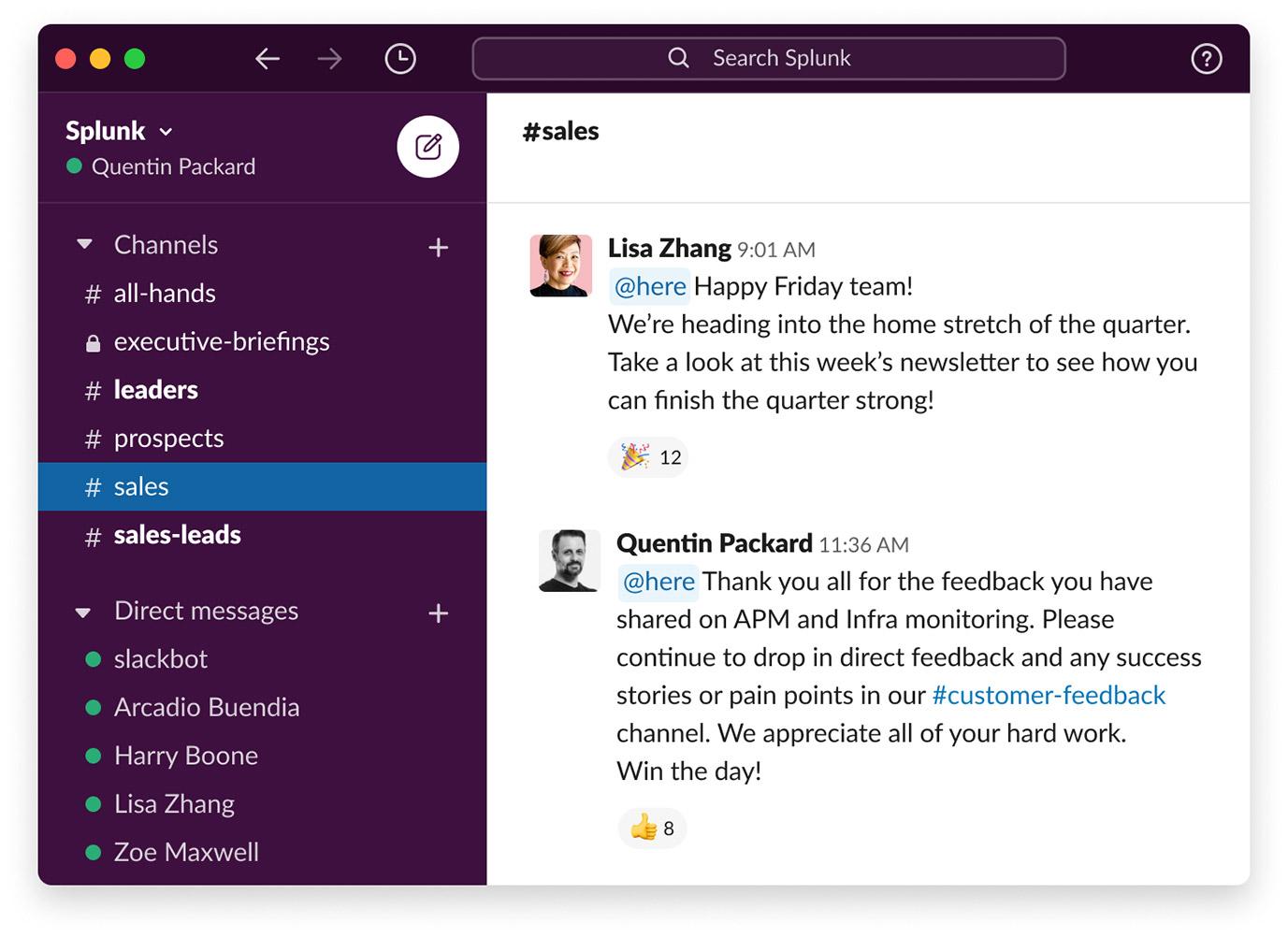 splunk slack sales UI image
