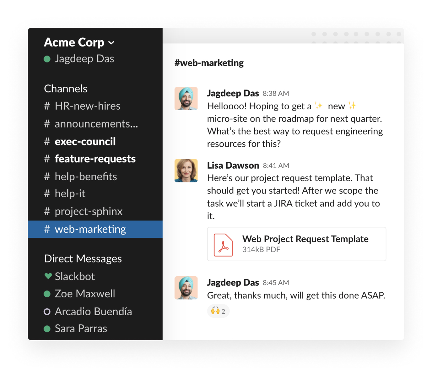 Project kickoff in Slack