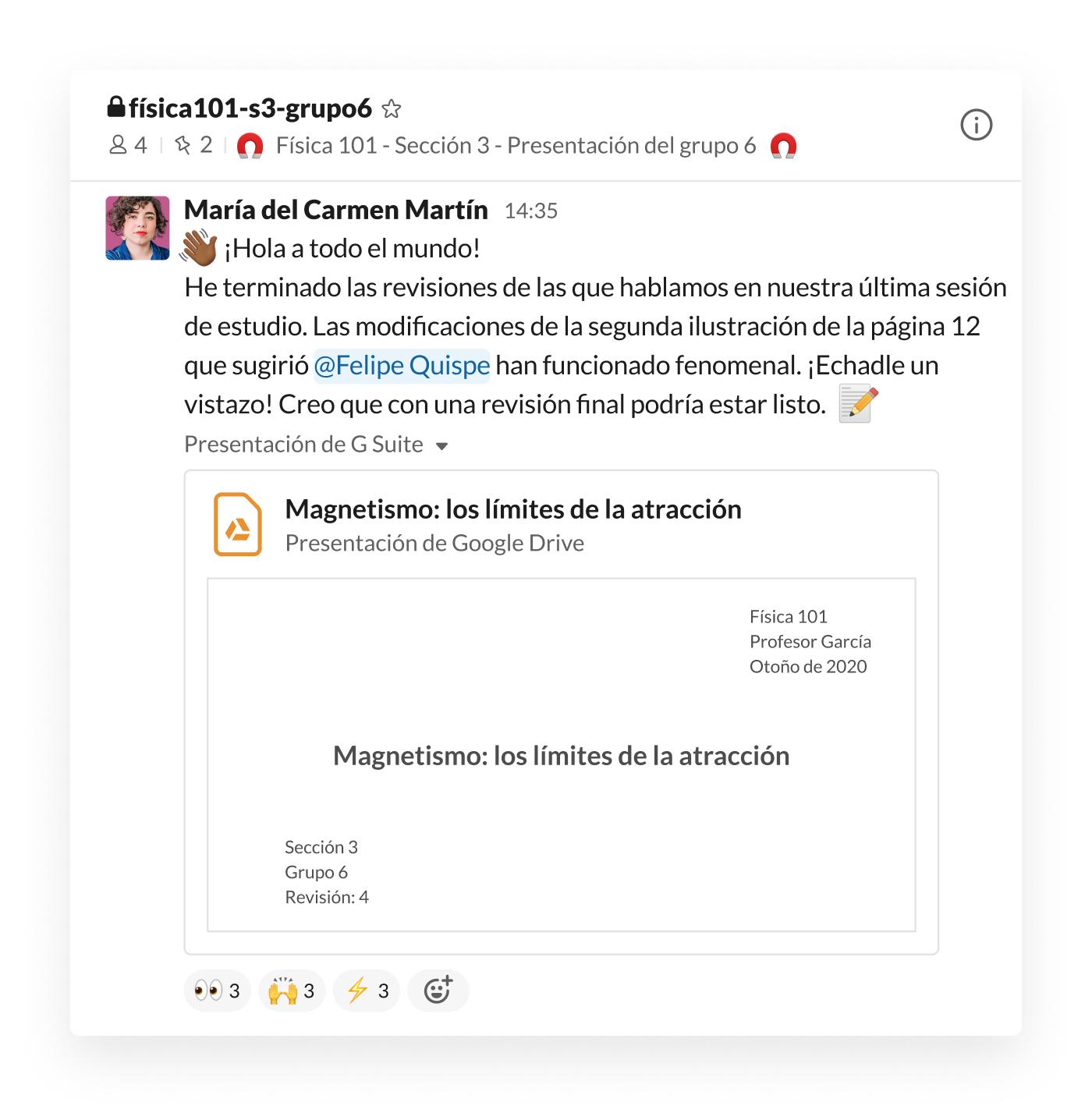Presentación de estudiantes publicada en un canal de Slack