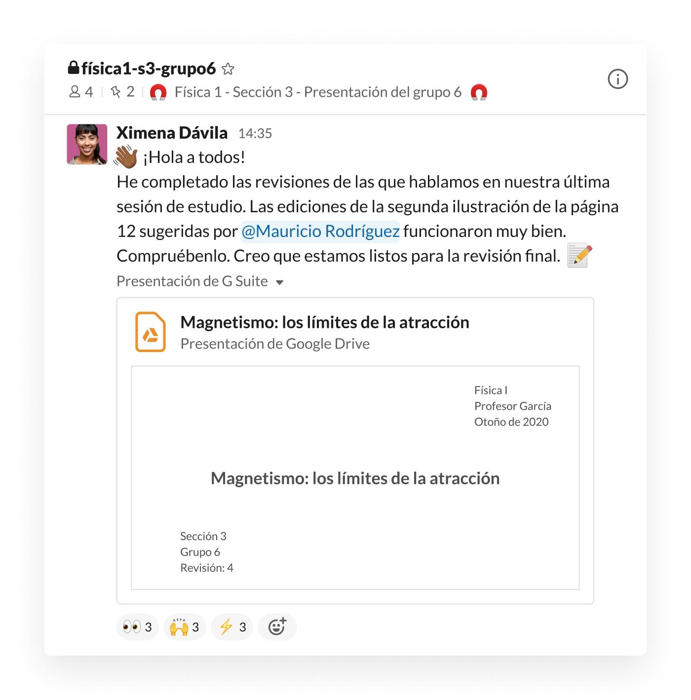 Presentación de un estudiante publicada en un canal de Slack