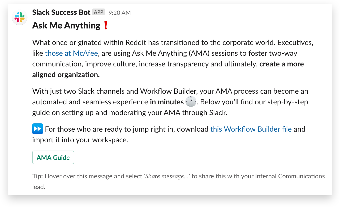 A Slack tip from Success Bot