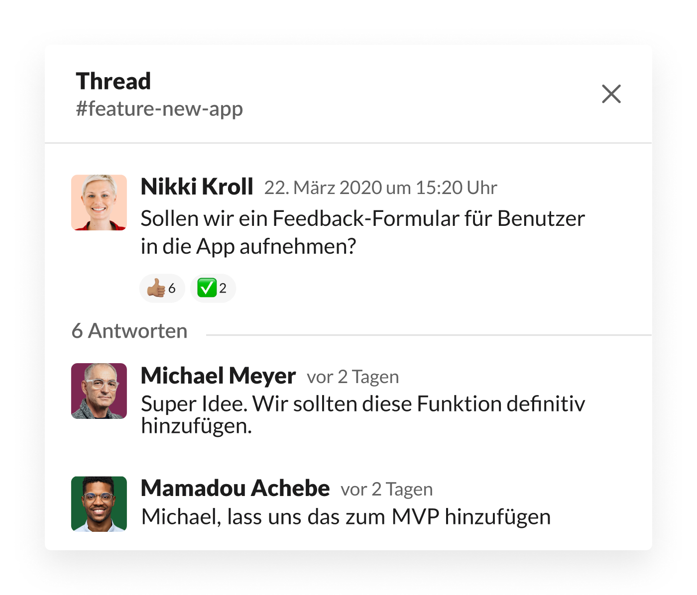 Slack-Thread zur Diskussion des Feedback-Formulars für Benutzer in der App
