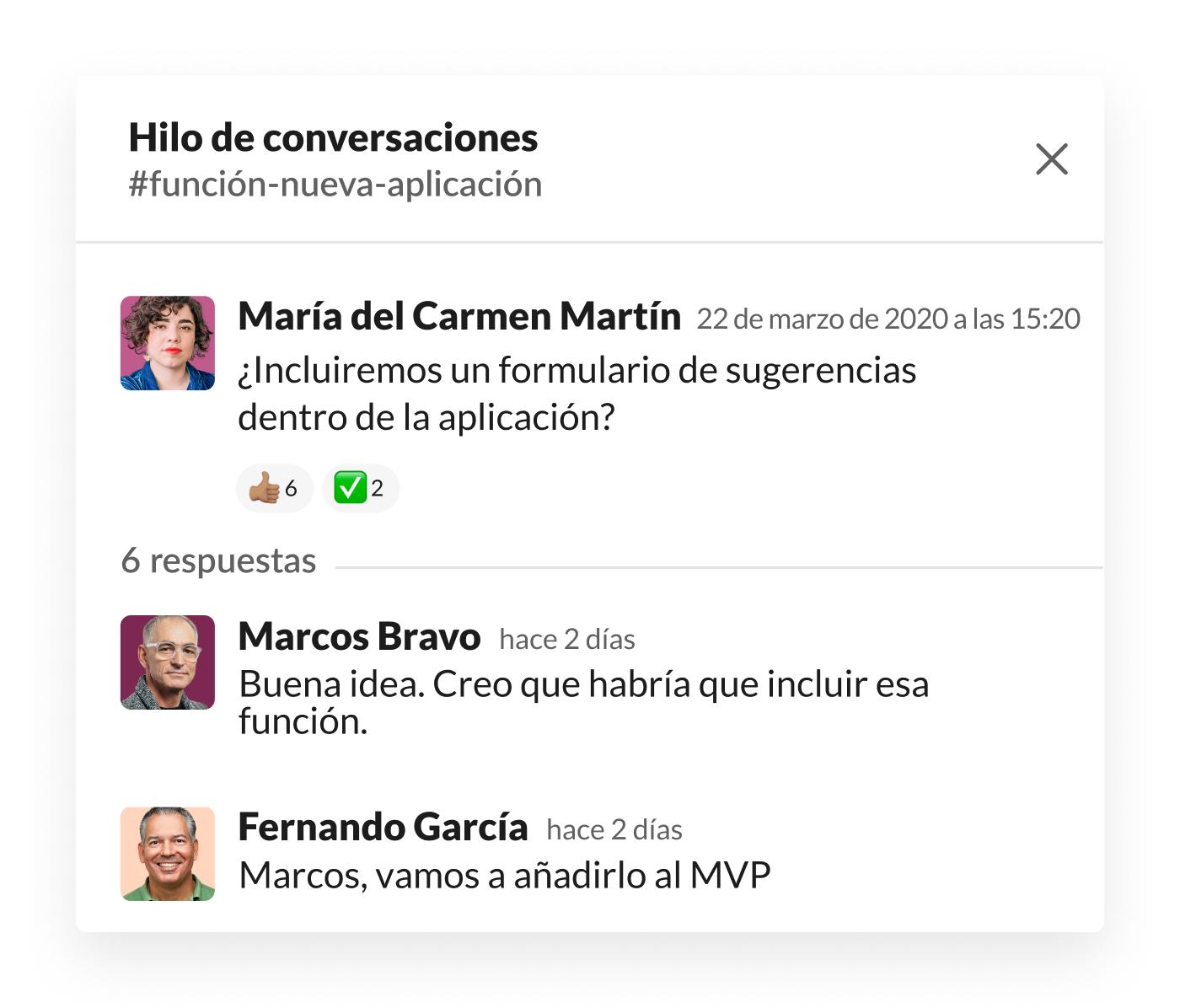 Hilo de la conversación de Slack en el que se habla sobre el formulario de sugerencias de los usuarios en la aplicación