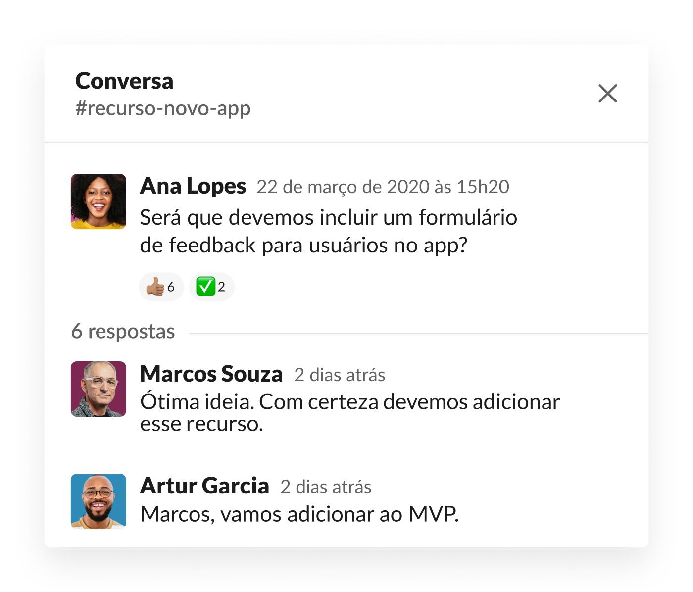 Conversa no Slack sobre o formulário de feedback para usuários no app
