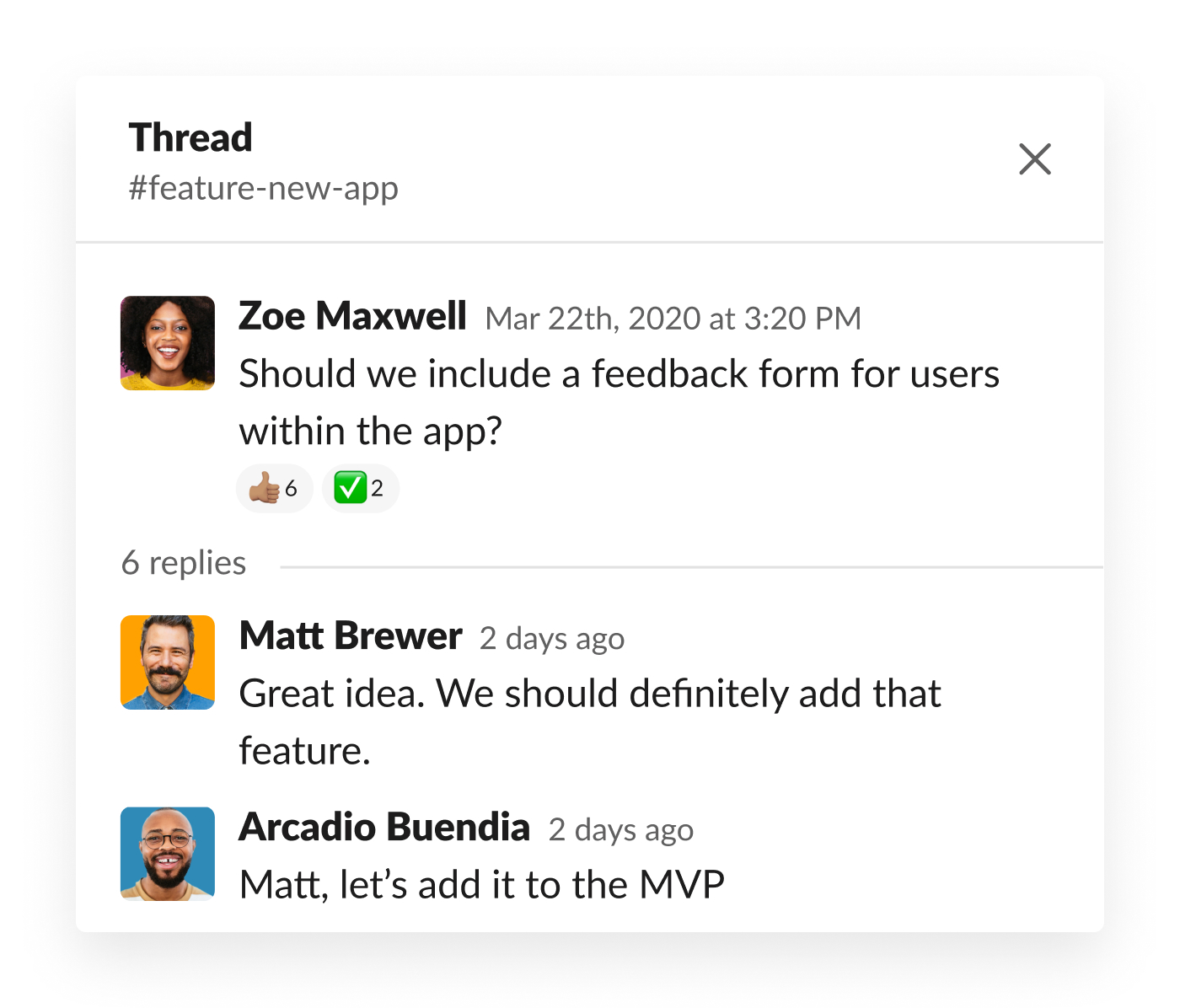 Slack thread discussing feedback form for users in app