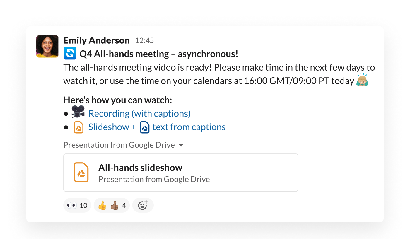An all-company meeting is shared in a Slack channel, where employees can view it on demand