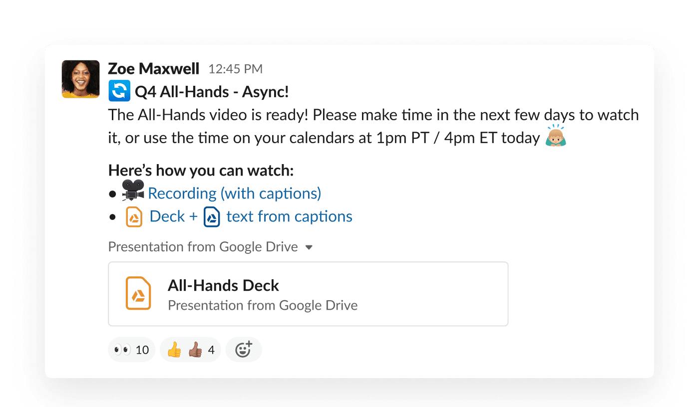 A company all-hands is shared in a Slack channel, where employees can view it on demand