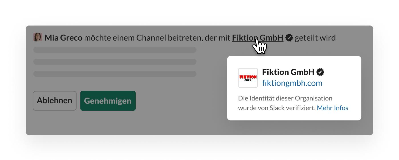 Slack-Verifizierung für einen Geteilten Channel mit externer Organisation