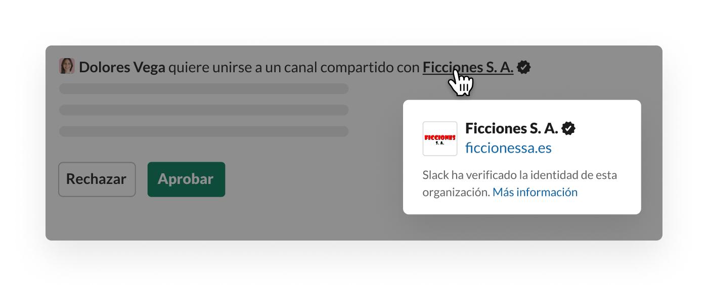 Verificación de Slack para un canal compartido fuera de la organización