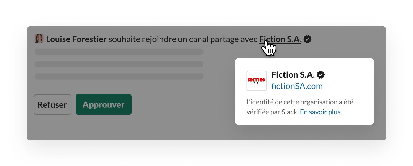 Vérification Slack sur un canal partagé avec une organisation externe