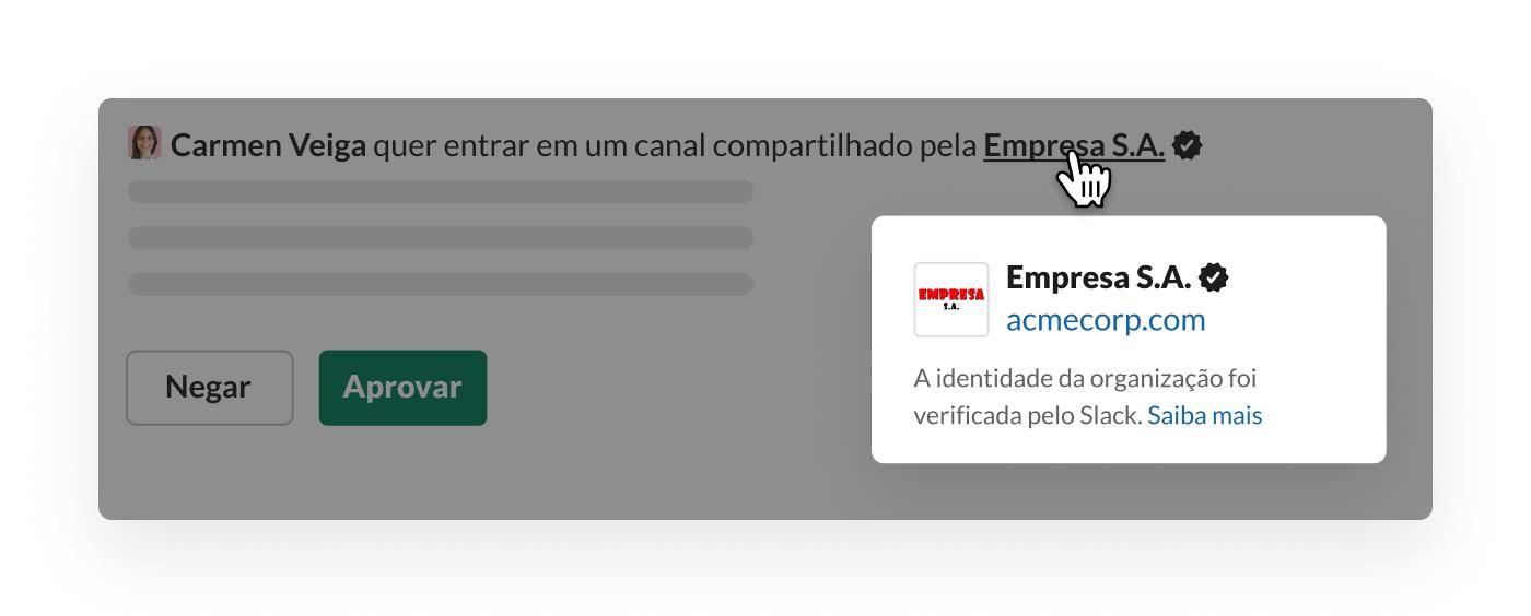 Verificação do Slack para canal compartilhado com organização externa