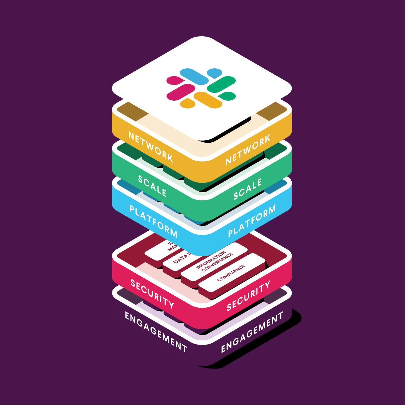 Colorful blocks with Slack logos