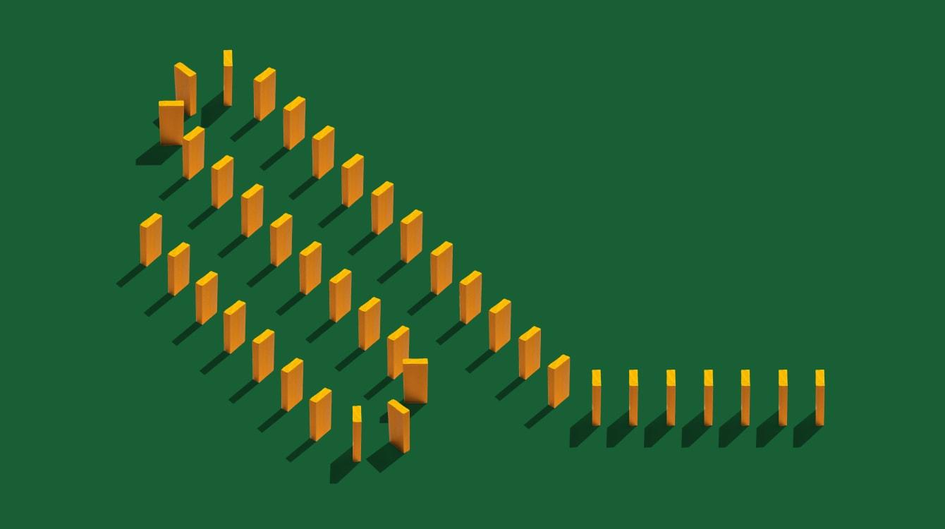 Yellow blocks lined up like dominoes representing Workflow Builder
