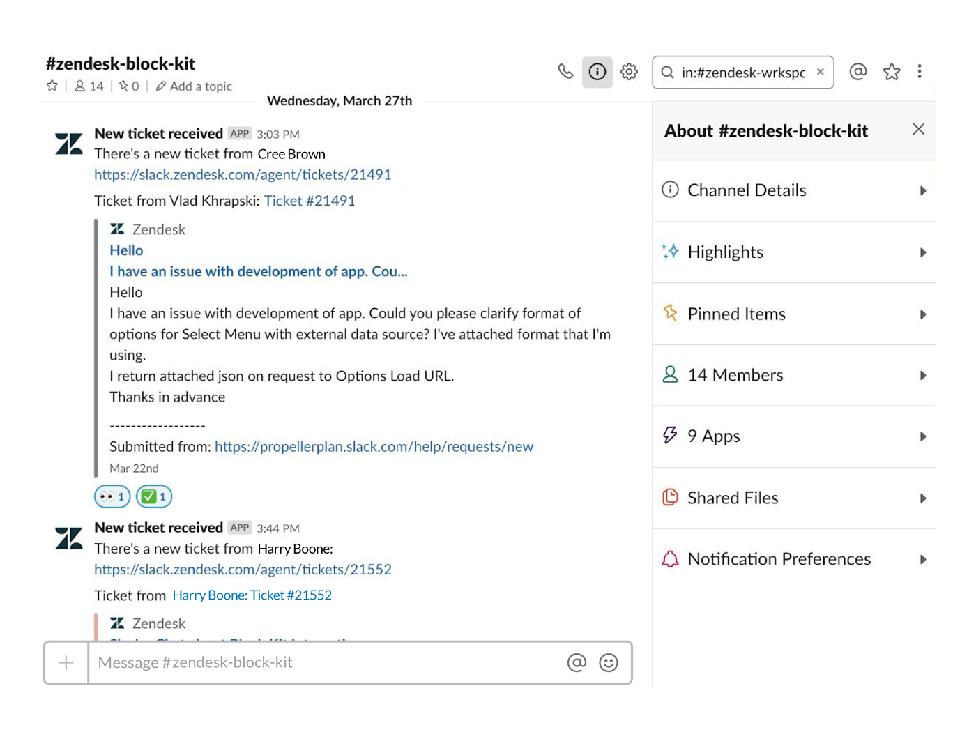 Zendesk integration in Slack posting customer tickets in channel